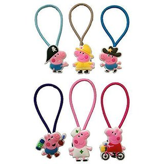 Peppa Pig Colorful Hairband Ponytail Holder 6 Pcs Set #2