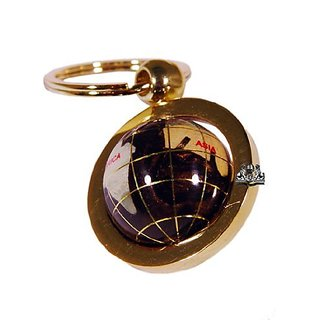 Unique Art 1-Inch Diameter Amberlite Pearl Swirl Ocean Gemstone World Globe Keychain with Gold Keyring