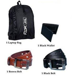 Combo of Laptop Bag + Two Mens Belt Black And Brown + Mens Wallet + 3 Pairs of Mens Ankle Socks Free