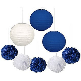 Furuix 10 pcs White Navy Blue 10inch Tissue Paper Pom Pom Paper Lanterns Mixed Package for Navy Blue Themed Party Weddin