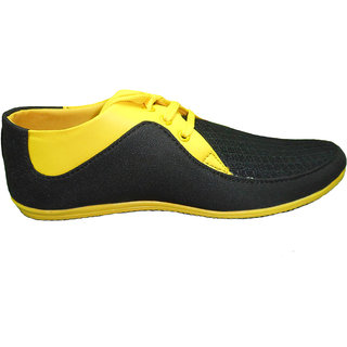 Unisex Casual Shoes In Black And Yellow Finish