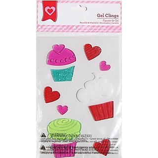 Holiday Valentines Day Cupcakes and Hearts Gel Window Clings - 11 Piece