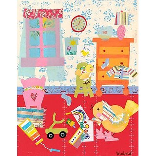 Oopsy daisy Good Morning Little Birdie Stretched Canvas Wall Art by Winborg Sisters, 14 by 18-Inch