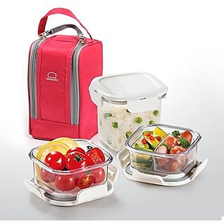 Lock & Lock LBF221 Series BPA Free Lunch Box Set with Insulated Bag + 3 Tritan Containers (Pink (LBF221P))