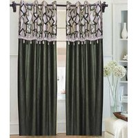 Deal Wala Pack Of 2 Atractive Green Box Design Door Curtain {crl02}