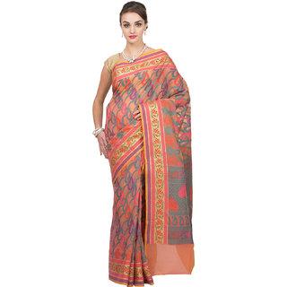 Craftghar Banrasi Silk work Organza Silk orange   Handloom Saree Sari