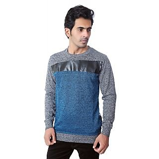 Zeel Peacock Blue  Gray Fleece Men's Sweatshirt