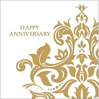 Creative Converting 36 Count 3 Ply Happy Anniversary Lunch Napkins, Gold
