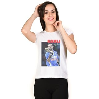 LetsFlaunt Virat Kohli T-shirt White Girls Dry-Fit-X-Small Nw
