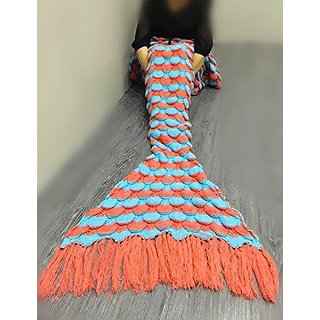 Mermaid Tail Blanket with Tassels OKAYSHOP Knitted Crocheted Soft Sleeping Bag for Adult (71