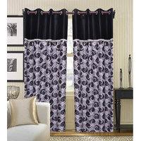 Deal Wala Pack Of 2 Black Flower Design Eyelet Door Curtain {spl5001}