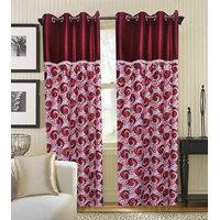 Deal Wala Pack Of 2 Red Flower Design Eyelet Door Curtain {spl5002}