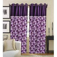 Deal Wala Pack Of 2 Purple Flower Design Door Curtain {spl5005}