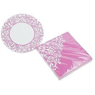 Royal Princess Pink - Dessert Plates & Napkins - Serves 20 (40 Pieces)