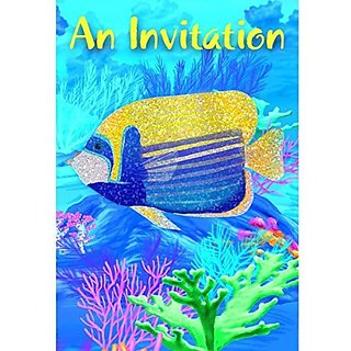 Amscan Hawaiian Summer Luau Party Coral Reef Folded Invitation (8 Pack), Multi Color, 7.3 x 4.5