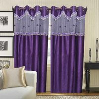 Deal Wala Pack Of 2 Purple With Lace Design Door Curtain {tsl2223}