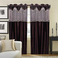 Deal Wala Pack Of 2 Brown With Lace Design Eyelet Door Curtain {tsl2224}