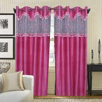 Deal Wala Pack Of 2 Pink With Lace Design Eyelet Door Curtain {tsl2225}