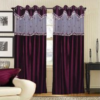 Deal Wala Pack Of 2 Maroon With Lace Design Door Curtain {tsl2226}
