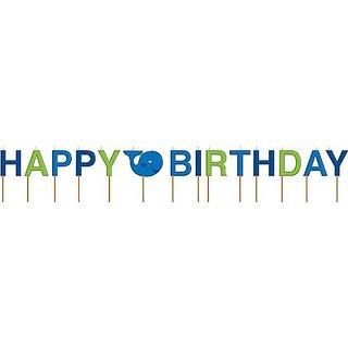 Creative Converting Ocean Preppy Boys Pick Candles, Happy Birthday