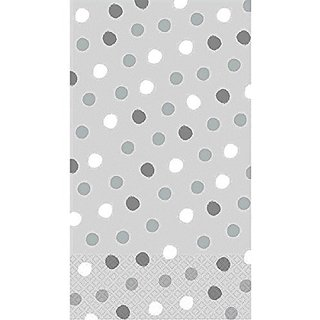 Amscan Whimsical Dots Silver Disposable 2 Ply Eco Paper Guest Towels Tableware (16 Piece), 8