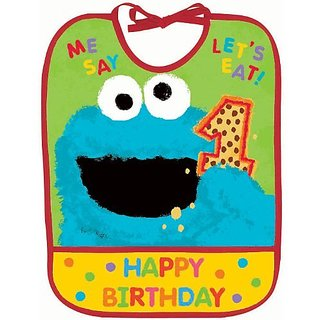 Amscan Sesame Street 1st Birthday Vinyl Baby Bib Party Supplies, 13