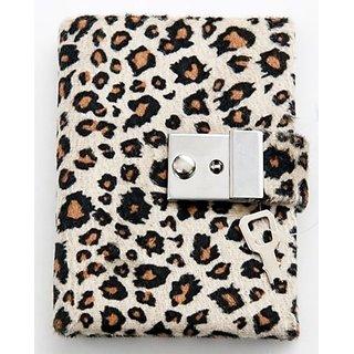 Animal Print Diary - Teen Locking Journal Lock & Key (TAN W BROWN SPOTS)