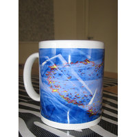 Ceramic Coffee Mug - Heart - Blue