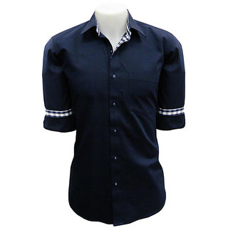 CAIRON NAVY BLUE SOLID SMART FORMAL SHIRT [CLONE]