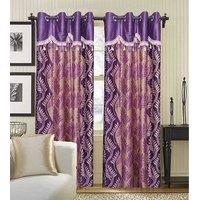 Deal Wala Pack Of 2 Purple Leaves Design Eyelet Door Curtain {RHL502}