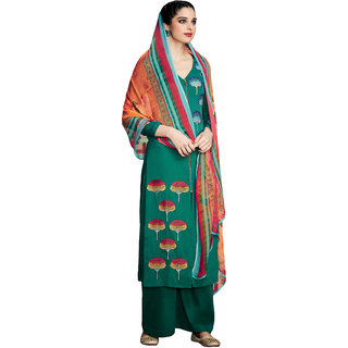 Sareemall Dark Green Embellished Embroidered Pure Cotton satin Dress Material With Matching Dupatta
