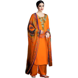 Sareemall Orange Embellished Embroidered Pure Cotton satin Dress Material With Matching Dupatta