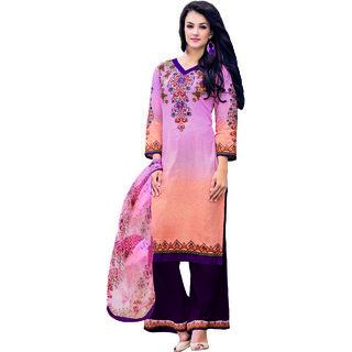 Sareemall Pink Floral Print Printed Glaze Cotton Dress Material With Matching Dupatta