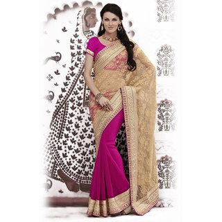Ishi Maya Lovely Magenta Embroidered Party Saree