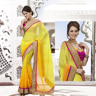 Ishi Maya Appealing Yellow Embroidered Party Saree