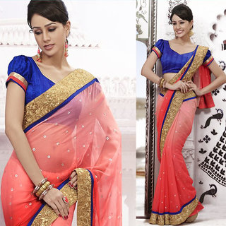 Ishi Maya Exquisite Pink Embroidered Party Saree