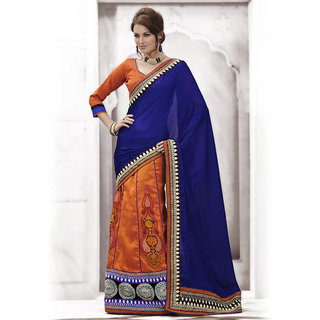 Ishi Maya Divine Orange & Blue Embroidered Party Saree