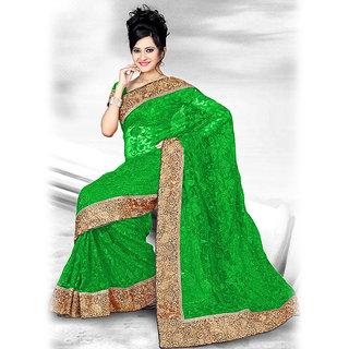 Ishi Maya Alluring Green Designer Net Saree