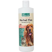 NaturVet Herbal Flea Shampoo with Essential Oils for Dogs and Cats, 16 oz Liquid, Made in USA