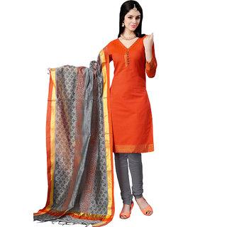 Trendz Apparels Orange Colored Banarasi Plain Dress Material