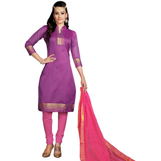 Trendz Apparels Purple Colored Banarasi Plain Dress Material