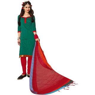 Trendz Apparels Green Colored South Cotton Plain Dress Material