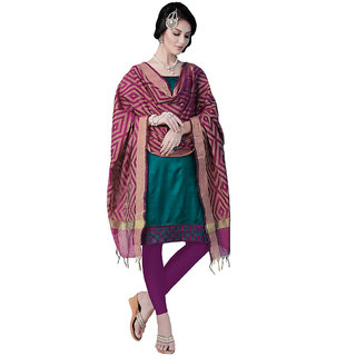 Trendz Apparels Green Colored Silk Plain Dress Material