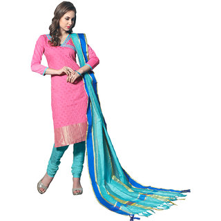 Trendz Apparels Pink Colored Banarasi Plain Dress Material