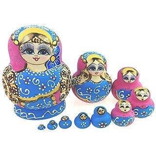 Set of 10 Cutie Lovely Light Pink Blue Nesting Dolls Matryoshka Madness Russian Doll Popular Handmade Kids Girl Christma