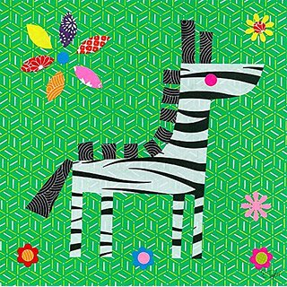 Oopsy Daisy Geometric Zebra by Rachel Taylor Canvas Wall Art, 14 by 14-Inch