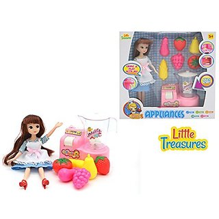 Doll Playset mini modern Kitchen pretend playset with a fruit blender and toy fruits to make healthy smoothies and playt
