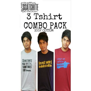 Scatchite 3 Tshirts Combo For Mens ... Pure Cotton