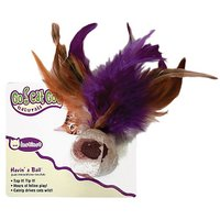 OurPets Cat Ball with Feathers Natural Catnip Cat Toy