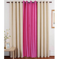 Deal Wala Pack Of 2 Cream And 1 Pink Eyelet Door Curtain